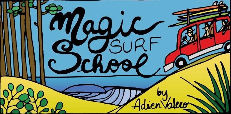 Le concept de l'école de surf Magic Surf School dessiné par Pauline Beuniot artiste girondine
