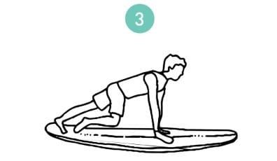 une des étapes pour se redresser sur la planche de surf