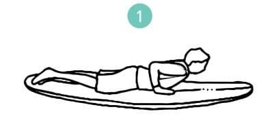 un dessin d'un surfeur allongé sur sa planche